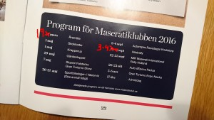 Foto av programmet i Bulletinen, med ändrade datum för två events.